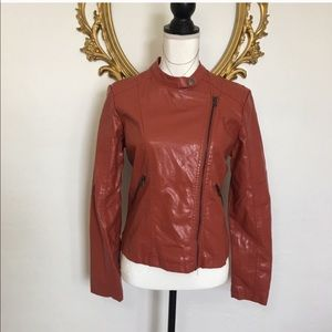 BB Winter Burnt Orange Vegan Leather Jacket Size L